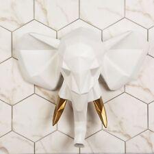 Walplus Faux Taxidermy Elephant Wall Mount Sculpture Art Home UK - White Gold