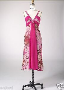 Size 8 Woman Silk Print Beading Cocktail Evening Formal Party Long Dress