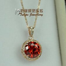 Elegant Ruby Round Necklace Made With SWAROVSKI Crystals,18K Rose Gold Plated