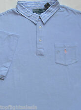 New $95 Polo Ralph Lauren Light Blue Cotton Mesh Pocket Polo Shirt / Large