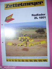✪Bagger/Bau/maschinen Prospekt Sales Brochures Zettelmeyer Radlader ZL 1801
