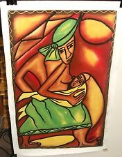 ROSE KAMOTO MOTHER AND CHILD ORIGINAL OIL ON CANVAS PAINTING
