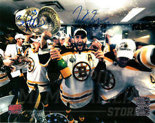 Patrice Bergeron Brad Marchand Boston Bruins Signed Stanley Cup LockerRoom 8x10