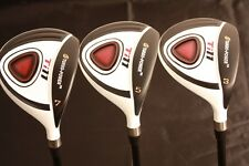 LEFT HANDED WHITE CUSTOM +1 LH GOLF CLUBS LEFTY WOODS #3 #5 #7 MENS + HEADCOVERS