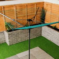 More details for 3 arm rotary clothes washing line airer drier powder coated steel pole 30m