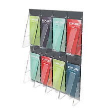 Deflecto 56201 Stand tall 1-piece literature rack for leaflets, 8 pockets, clear