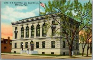 """1940s Sheridan, Wyoming Postcard """"U.S. Post Office and Court House"""" Linen Unused"""