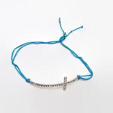 Rhinestone Sideways Cross Blue Cord Adjustable Bracelet