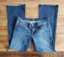 7 For All Mankind Dojo Jeans Womens Size 32 Wide Leg Flare Denim Stretch MedWash