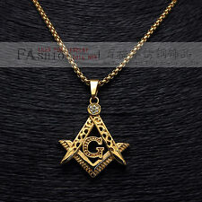 "14K Yellow Gold Plated Imitation Stainless Steel Mens Masonic Pendants 24"" Chain"