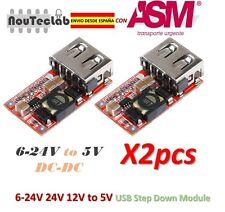 2pcs 6-24V 24V 12V to 5V USB Step Down DC-DC Converter Module