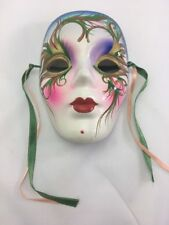 """Ceramic Mask with Ribbons ~Blue, Green, Red, White ~ 5"""" Tall~ No chips or cracks"""
