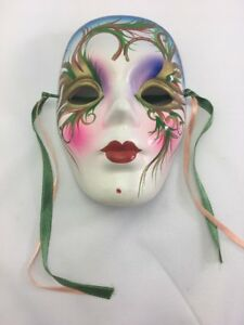 "Ceramic Mask with Ribbons ~Blue, Green, Red, White ~ 5"" Tall~ No chips or cracks"