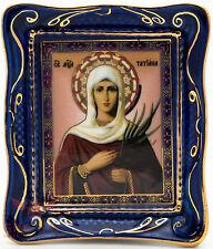Russian Porcelain Gzhel and gold Christian Icon Saint Tatiana of Rome Cв Татьяна