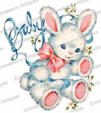 Vintage Image Retro Shabby Nursery Baby White Bunny Waterslide Decals BAB647