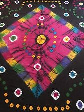 INDIAN 100% COTTON DOUBLE SIZE MULTI COLOURED TIE & DYE PRINT BEDSPREAD / THROW
