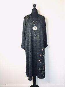 Italian Lagenlook Grey Marl / Gold Pattern Dress - UK Size  16 18 20