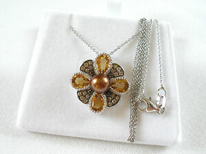 BROWN SUGAR-  Gold Pearl Solitaire, Citrine & Choc. Diamonds  Silver Necklace