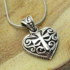 Pretty Swirl SeeThru Cross In Heart .925 Silver Pendant