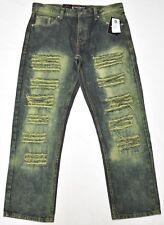 $50 NWT Mens Southpole Jeans Distressed Slim Straight Denim Urban 32x32 32 N543