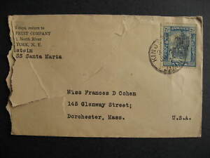 Jamaica perfin stamp UFCo United Fruit Company on partial 1924 cover to USA