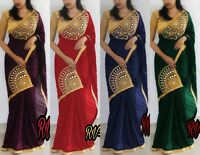 New Design Silk Saree Indian Pakistani Ethnic Wedding Wear Fancy Blouse Sari BD