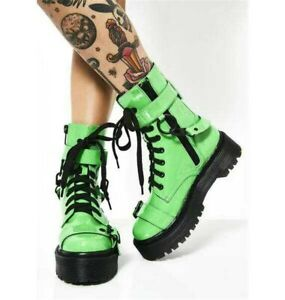 PVC Goth Platform Knee High Boots Punk Cosplay Neon Green Wedge Heels Women Shoe