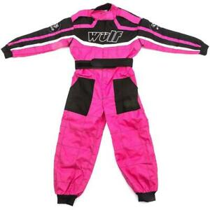 Wulfsport Cub Race Suit Plain Pink Girls Kids Karting Suits ATV Youth Racing