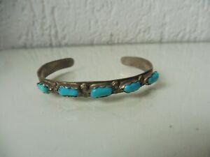 Belle, vieux Bracelet, Bijou Indien, Argent Avec 5 Turquoises, A.Cheama