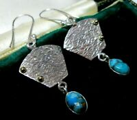 Vintage Style Modernist Sterling SILVER Gold Real Turquoise Stone Drop EARRINGS