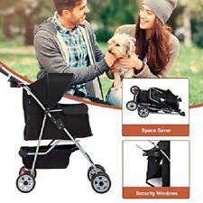 BestPet, Cat or Dog Carrier Stroller with 4 Wheels.swivel front wheels Black