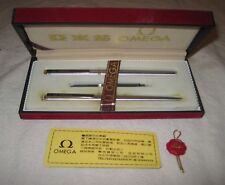 Rare Vintage 1970s OMEGA Swiss Ballpoint & Fountain Pen Set w/ Gift Box