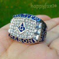 Masonic Championship Ring Master Mason Blue Logo Size 8-14 Men New
