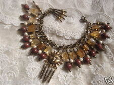 Tribal Sun Charm Bracelet Citrine White Turquoise Jasper Gemstones