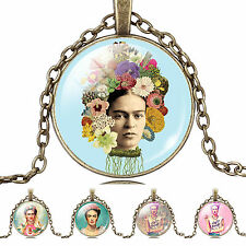 Vintage Look Frida Kahlo Photo Cabochon Glass Bronze Chain Pendant Necklace