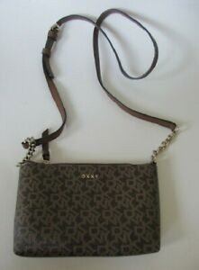 DKNY Coated Signature Brown Chain Adjustible Crossbody Bag Purse