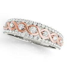 New Ladies 14k Rose And White Gold Diamond Ribbon Style Wedding Band Ring
