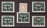 DR Nazi 3rd Reich Rare WW2 Stamp Overprint Swastika Eagle Occupation Poland GG