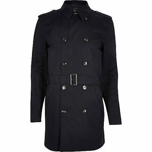 NEW MENS River Island DOUBLE BREASTED TRENCH COAT MAC JACKET XS- M RRP £70 NAVY