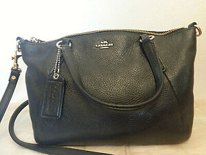 Coach Mini Kelsey Gloss Black Pebbled Leather handbag Shoulderbag Tote #F57563
