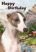 Whippet Dog Design A6 Textured Birthday Card BDWHIPPET-4 paws2print