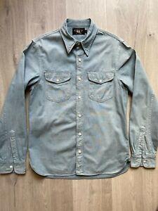 RRL (Double R L) Cotton Shirt, Size Small. Light Blue Chambray. Ralph Lauren