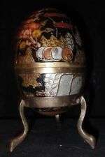 Vtg Gatco Solid Brass Hand Decorated Cloisonne Egg w/Stand Trinket Box India