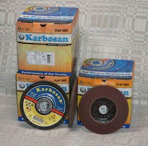 "SET 10 x Karbosan 125x22mm NK 120 Al. Ox. CONICAL Flap Sanding Disc (5""x7/8"")"