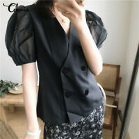 Women Ladies Sheer Mesh Puff Short Sleeve Fashion Tee Shirt Top Plus Size Blouse