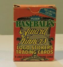 1987 Fleer Limited Edition BASEBALL AWARD WINNERS Complete 44 Card +Stickers Set