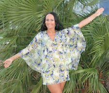 Chiffon colorful tunic-dress, kimono sleeves,Handmade, Designer Size 10
