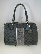 Coach Signature Stripe Black Python Satchel Handbag F24884