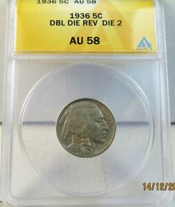 1936 Buffalo nickel ANACS AU58 *DDO D.1* BR