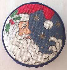 Crescent Santa Face Silk Jewel Case HP Needlepoint Canvas 18m by Creative Needle